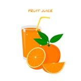 Succo di arancia fresco in un vetro Fotografia Stock Libera da Diritti