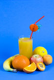 Succo di arancia naturale fresco e frutta arancione immagine stock libera da diritti