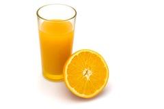 Succo di arancia su bianco Fotografie Stock