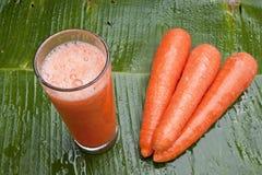 Succo di carota di rinfresco sano Fotografia Stock Libera da Diritti