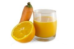 Succo di carota e dell'arancia Immagine Stock