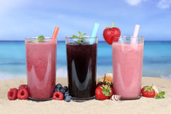 Succo di frutta dei frullati con il frullato di frutti sulla spiaggia Immagini Stock Libere da Diritti