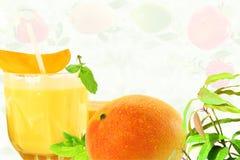 Succo fresco del mango con il concetto naturale sano dell'alimento della frutta Fotografia Stock