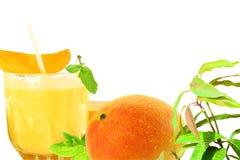 Succo fresco del mango con il concetto naturale sano dell'alimento della frutta Fotografia Stock Libera da Diritti