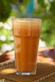 Succo fresco di mele e della carota Fotografia Stock