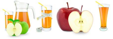 Succo, frutta e metro di mele Fotografia Stock Libera da Diritti