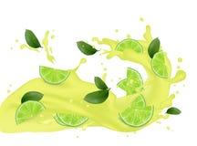 Succo realistico del frappé del cocktail 3d calce, frutta del limone con il fa Fotografia Stock