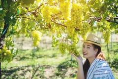 Succoso maturo della bella tenuta asiatica della donna dell'uva verde in sua mano fotografie stock