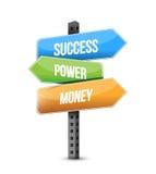 succès, puissance et panneau routier d'argent Photo stock