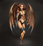 Succubus. Girl with sord on dark background. Illustration Royalty Free Stock Images