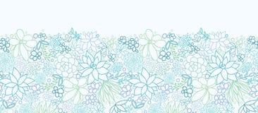 Succulent οριζόντιο άνευ ραφής σχέδιο εγκαταστάσεων ελεύθερη απεικόνιση δικαιώματος