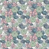 Succulent σύνολο άνευ ραφής διανυσματικών σχεδίων στα χρώματα κρητιδογραφιών απεικόνιση αποθεμάτων
