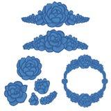 Succulent arrangements - BLUE collection. Vector design elements. Hand drawn vector illustration - Succulent design elements, arranged in different shapes Royalty Free Stock Photos