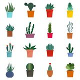 Succulent and cactus flowers icons set, flat style. Succulent and cactus flowers plant floral icons set. Flat illustration of 16 succulent and cactus flowers royalty free illustration
