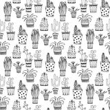 Succulent and cactus pattern. Doodle flowers in pots background. Vector vector illustration