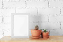 Succulent and cactus with photo frame. On wooden shelf on white brick wall background royalty free stock image
