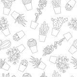 Succulent and cactus seamless pattern background. Hand Drawn succulent and cactus seamless pattern background Royalty Free Stock Photos