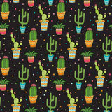 Succulent and cactus seamless pattern. Cartoon vector flowers in pots on dark background.  vector illustration
