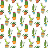 Succulent and cactus seamless pattern. Colorful cartoon flowers in pots. Vector background.  stock illustration