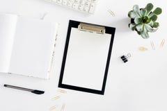 Succulent féminin d'espace de travail de bureau, presse-papiers, journal intime, clavier, g Image libre de droits
