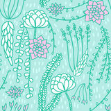 Succulent flower pattern background. Seamless floral pattern background. Vector flower nature illustration. Colorful doodle repeat for fabrics and packaging with Royalty Free Stock Images