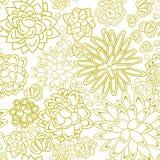 Succulent garden monochrome doodle seamless pattern. Stock Images