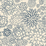 Succulent garden monochrome doodle seamless pattern. Royalty Free Stock Images
