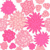 Succulent garden monochrome doodle seamless pattern. Royalty Free Stock Photos