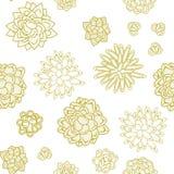 Succulent garden monochrome doodle seamless pattern. Stock Photo