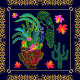 Succulent garden. Textile print inspired by aboriginal art motifs. Silk scarf with exotic plants in ceramic pot and zebra print. Ethnic textile collection Stock Image