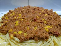 Succulent meaty spaghetti bolognese Stock Photography