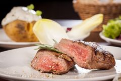 Succulent medium rare beef steak Royalty Free Stock Photography