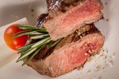 Succulent medium rare beef steak Royalty Free Stock Images