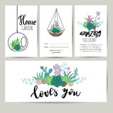 Succulent plant greeting card, invitation. Flower vector background Royalty Free Stock Image
