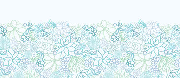 Succulent Plants Horizontal Seamless Pattern Stock Images
