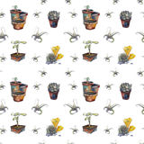 Succulent plants in pots pattern Royalty Free Stock Photo