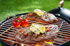 Succulent steak on a barbecue Stock Photography