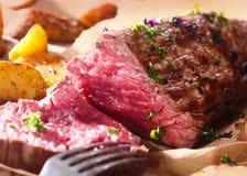 Succulent rare roast beef Stock Photo
