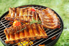 Succulent spicy spare ribs on a barbecue Stock Image