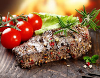 Succulent tender peppered steak Royalty Free Stock Photo