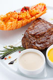 Succulent thick juicy portions of grilled fillet steak Royalty Free Stock Images