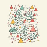 Succulent and triangles pattern Stock Images