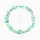 Succulent wreath isolated on white. Floral wreath made of succulents, vector floral wreath isolated on white Stock Image