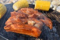 Succulente gemarineerde ribben op een openluchtbarbecue Royalty-vrije Stock Foto