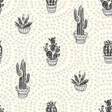 Succulents и заводы кактусов на предпосылке точки Vector безшовная картина с домашним кактусом шаржа сада иллюстрация вектора