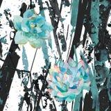 Succulents и нашивки акварели Абстрактные пятна splatter синих чернил, линии Справочная информация Ультрамодная modernistic карти Стоковое фото RF