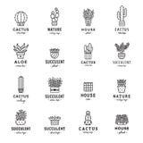 Succulents and cacti black logo vector set. Royalty Free Stock Photos