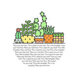 Succulents and cacti outline multicolored vector background. Minimalistic design. Part one. Royalty Free Stock Photos