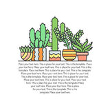 Succulents and cacti outline multicolored vector background. Minimalistic design. Part three. Stock Image