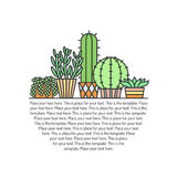 Succulents and cacti outline multicolored vector background. Minimalistic design. Part two. Royalty Free Stock Images